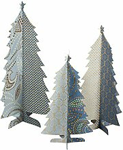 Maileg 3er Set Weihnachtsbäume Deko-Papp-Aufsteller: blau/ gold