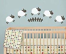 "mairgwall Counting Sheep Vinyl Baby Kinderzimmer Wand Aufkleber, Vinyl, Custom, 19""""h x64""""w"