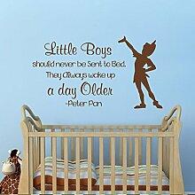 "mairgwall Peter Pan Zitat Sie immer Wake Up A Day Ältere Baby Kinderzimmer Aufkleber Kinder Aufkleber Spielzimmer Kunst-Aufkleber, Vinyl, Custom, 32""""hx57""""w"