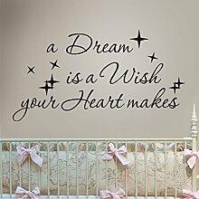 """mairgwall Schriftzug A Dream Is A Wish Your Heart Makes entfernbare Vinyl Decor Cinderella Wandtattoo für Kinder Baby Mädchen, Vinyl, braun, 12""""""""hx22""""""""w"""