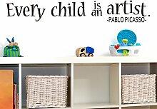 """mairgwall Vinyl Baby Wandtattoo Kinder Jedes Kind ist ein Künstler Home Decor Spielzimmer Art DEKORATION, Vinyl, Customized-colors, 9""""""""h x58""""""""w"""