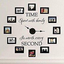 """MairGwall Vinyl-Schriftzug für Wohnzimmer """"Time spent with family is worth every second"""", Uhr und Bilderrahmen nicht im Lieferumfang enthalten, Vinyl, braun, 19""""""""h x22""""""""w"""