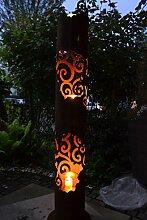 Maison en France Feuersäule- große außergewöhnliche Lichtsäule, Pflanzsäule mit 3 großen Windlichtgläsern- - ca. Höhe 145 cm - aus Metall mit Edelrost-zaubert ein großartiges Lich