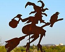 Maison en France Gartenstecker - fliegende Hexe