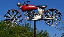 Maison en France Gartenstecker Motorrad, rot,