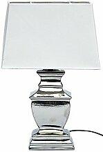MAJA Lampe Tischlampe Shabby Chic Tischleuchte Silber Weiß Lampen eckig