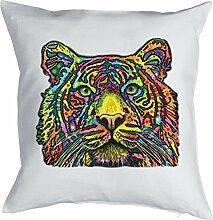 Majestätischer Tiger Bezug für Kissen - Großkatzen Print- Neon Pop Art Motiv - buntes Katzen Portrait Tiger - Motiv Kissenhülle Deko 40x40cm weiß : )