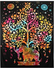Majestic Elephant and Tree of Life Print Indischer