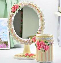 Make-up Spiegel europäischen Stil Dressing Rose Harz Tisch Spiegel Prinzessin Falten Eitelkeit Spiegel , 5