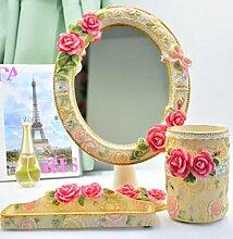 Make-up Spiegel europäischen Stil Dressing Rose Harz Tisch Spiegel Prinzessin Falten Eitelkeit Spiegel , 4