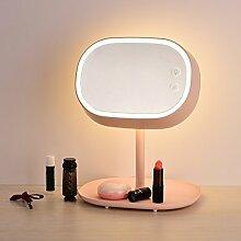 Make-up-Spiegel Moderne einfache Tischlampe Dresser Spiegel Ladung Dimmen Touch LED Tischlampe ( Farbe : Pink )