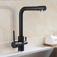 Makej Quarz Hafer Farbe Wasserhahn Kupfer - Heiß Und Kalt Spülbecken Drei Einlass Wasserfilter Wasserhahn Tap B
