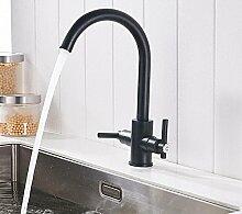 Makej Zwei-Griff Wasserhahn Schwarz Küche Warm