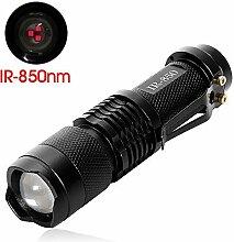 MakeTheOne Infrarot Taschenlampe 850 NM Jagd Nachtsicht Taschenlampe High Power Hochleistungs LED IR Handlampe Camping Jagd-Gerät verwendet werden (Infrarot-Licht ist unsichtbar für das menschliche Auge)