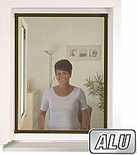 mako Insektenschutz Fenster XXL slimLINE 80 x 100 cm ALU-Rahmen in Braun Fliegengitter-Fenster mit Schnellmontagefedern Insektenfenster kürzbar ohne Bohren