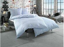 Mako Perkal Landhaus Bettwäsche 155x220 hellblau