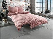 Mako Perkal Landhaus Bettwäsche 155x220 rot Karo