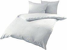 Mako Satin Bettwäsche blau weiß gestreift