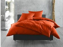 Mako Satin Bettwäsche uni orange 240x220