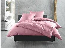 Mako Satin Bettwäsche uni rosa 135x200
