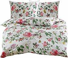 Mako Satin Blumen Bettwäsche mit Vögeln und