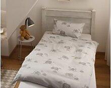 Mako Satin Kinder Bettwäsche Elefant 100x135 grau