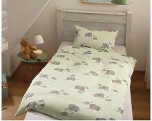 Mako Satin Kinder Bettwäsche Elefant 100x135 grün