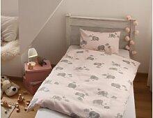 Mako Satin Mädchen Kinder Bettwäsche Elefant