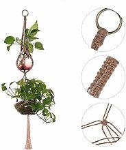 Makramee Doppel Pflanze Kleiderbügel, Natural handmade Baumwolle Seil Blumentopf Korb Pflanze Halter für Indoor Outdoor Balkon Terrasse Deck Deckenleuchte Dekor, 4Beine