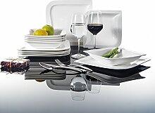 Malacasa, Serie Joesfa, Cremeweiß Porzellan Tafelservice 12 tlg. Set Kombiservice Geschirr Set mit je 6 Flachteller, 6 Suppenteller für 6 Personen
