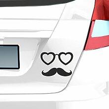 malango® Autoaufkleber Brille mit Schnauzer