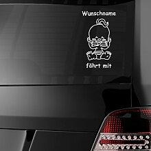 malango® Baby fährt mit Wunschnamen Babyaufkleber Aufkleber Auto Sticker ca. 25 x 16 cm weiß