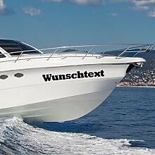 malango® Bootsaufkleber 2 Stück Bootsbeschriftung Wunschtext Bootsname Name Beschriftung Aufkleber Kennung 300 cm grau