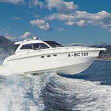 malango® Bootsaufkleber Bootskennzeichen Bootsnummer 2 Stück Kennzeichnung Nummer Bootsname Aufkleber ca. 10 cm Höhe goldgelb