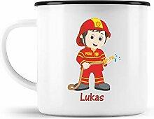 malango Emaille-Tasse Feuerwehrmann mit Wunschname