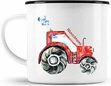 malango Emaille-Tasse Traktor mit Wunschname