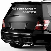 malango® Feuerwehr Aufkleber - Überholen Sie ruhig- Wir schneiden Sie raus- mit Wunschort Autoauffkleber Autosticker Erhältlich in mehr als 30 Farben 50 x 12 cm schwarz schwarz 50 x 12 cm