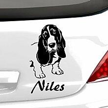 malango® Hund Bassett Hound mit Wunschname Autoaufkleber Autosticker Aufkleber Sticker Erhältlich in mehr als 30 Farben 10 x 20 cm dunkelblau dunkelblau 10 x 20 cm