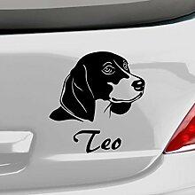malango® Hund Beagle mit Wunschname Autoaufkleber