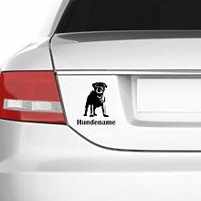 malango® Hund mit Name Mops Aufkleber Auto Autoaufkleber Wunsch ca. 19 x 22 cm anthrazit anthrazit ca. 19 x 22 cm