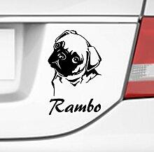 malango® Hund Mops mit Wunschname Autoaufkleber Autosticker Aufkleber Sticker Erhältlich in mehr als 30 Farben 13 x 20 cm grau grau 13 x 20 cm