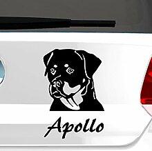 malango® Hund Rottweiler mit Wunschname Autoaufkleber Autosticker Aufkleber Sticker Erhältlich in mehr als 30 Farben 13 x 20 cm mint mint 13 x 20 cm