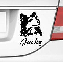 malango® Hund Shetland Schäferhund mit Wunschname Autoaufkleber Autosticker Aufkleber Sticker Erhältlich in mehr als 30 Farben 13 x 20 cm brilliantblau brilliantblau 13 x 20 cm