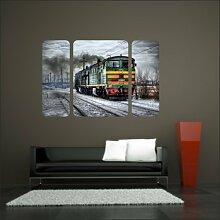 malango® Lokomotive im Schnee Triptychon