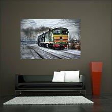 malango® Lokomotive im Schnee Wandtattoo Tattoo Auto Dekoration Styling Design 60 x 92 cm digitalgedruckt digitalgedruckt 60 x 92 cm