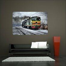 malango® Lokomotive im Schnee Wandtattoo Tattoo Auto Dekoration Styling Design 80 x 122 cm digitalgedruckt digitalgedruckt 80 x 122 cm