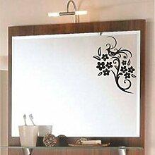 malango® Spiegelaufkleber Blumenranke Aufkleber Spiegel Blume Ranke Blumen Flower Sticker ca. 30 x 18 cm dunkelrot dunkelrot ca. 30 x 18 cm