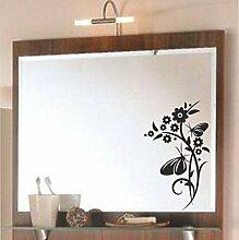 malango® Spiegelaufkleber Blumenranke Aufkleber Spiegel Blume Ranke Blumen Flower Sticker ca. 30 x 22 cm silber silber ca. 30 x 22 cm