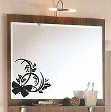 malango® Spiegelaufkleber Blumenranke Aufkleber Spiegel Blume Ranke Blumen Flower Sticker ca. 25 x 24 cm mattschwarz mattschwarz ca. 25 x 24 cm
