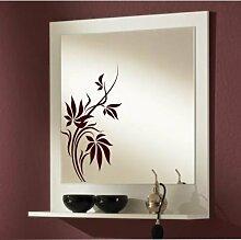 malango® Spiegelaufkleber Blumenranke Aufkleber Spiegel Blume Blumen Flower Sticker ca. 30 x 15 cm haselnussbraun haselnussbraun ca. 30 x 15 cm